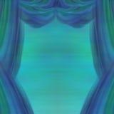 De theatergordijnen, vatten blauwe en groene achtergrond samen Royalty-vrije Stock Fotografie