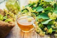 De thee en de bloemen van de linde Stock Foto