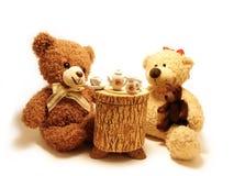De thee-partij van teddyberen stock afbeeldingen