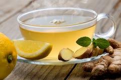 De thee van de gembercitroen met munt Stock Afbeelding