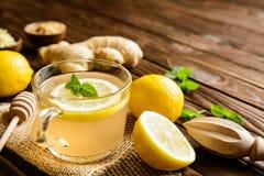 De thee van de gemberwortel met citroen, honing en munt stock foto's