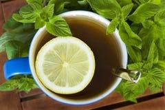 De thee van de munt met citroen. Stock Foto's