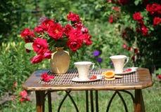 De thee van de zomer in een tuin Stock Foto's