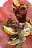 De thee van het de zomerfruit, mening van hierboven Royalty-vrije Stock Foto