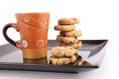 De thee van het ontbijt met koekjes Stock Fotografie