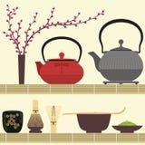 De thee van Matcha Stock Foto's