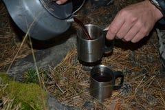 De thee van de theepot in de bergen stock afbeelding