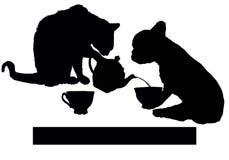 De theepauze met kat en de hond voor ontspannen vector illustratie