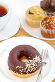 De Theepauze van de doughnut Stock Foto