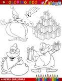 De Thema's van Kerstmis van het beeldverhaal voor het Kleuren Stock Foto