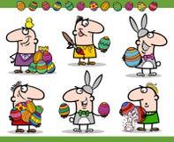 De thema's van Pasen geplaatst beeldverhaalillustratie Stock Foto