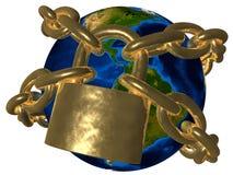 De theorieën van de samenzwering - Aarde in gouden ketting - Amer Stock Fotografie