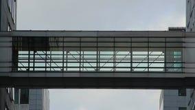 De tiempo de las siluetas del lapso los hombres de negocios caminan edificios del paso almacen de video