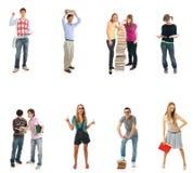 De tien jonge studenten die op een wit worden geïsoleerds Royalty-vrije Stock Afbeelding