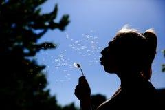 De tiener blaast en spreidt zacht de paardebloemzaden tegen de blauwe hemel uit royalty-vrije stock foto