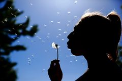 De tiener blaast en spreidt zacht de paardebloemzaden tegen de blauwe hemel uit royalty-vrije stock foto's