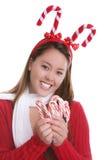 De tiener en het suikergoedriet van Kerstmis Royalty-vrije Stock Foto's