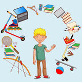 De tiener en zijn belangen, werkgelegenheid, onderwijs, ontwikkeling Stock Foto
