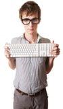 De tiener houdt het Toetsenbord van de Computer Stock Afbeelding