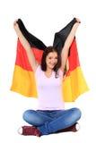 De tiener juicht met Duitse vlag toe Stock Foto