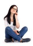 De tiener luistert muziek Stock Afbeeldingen