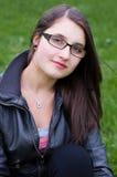 De tiener in openlucht close-up van het meisje Stock Afbeeldingen