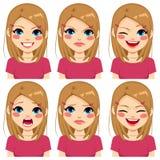De tiener Roze Uitdrukkingen van het Meisjesgezicht Stock Afbeelding