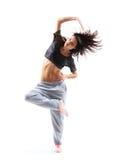 De tiener van de hiphopstijl het springende dansen stock foto