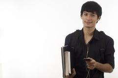 De Tiener van de student met mobiel Stock Foto