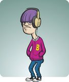 De tiener van het beeldverhaal met hoofdtelefoons Stock Afbeeldingen
