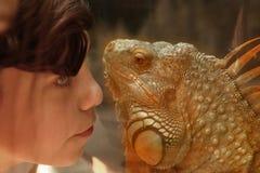 De tienerjongen bewondert leguaanhagedis in dierentuin Stock Fotografie