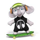 De tienerolifant die geïsoleerde 3d met een skateboard rijden geeft terug Stock Foto