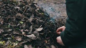 De tieners maken een vuur van droge oude bladeren, Verontreiniging van het milieu stock video