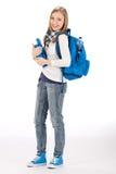 De tienervrouw van de student met schooltasboek Royalty-vrije Stock Foto