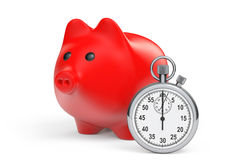 De tijd bewaart Concept. Rood Spaarvarken met Chronometer Royalty-vrije Stock Foto's