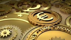 De tijd is geld. euro munthoogtepunten. Stock Foto