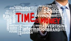 De tijd is geld met bedrijfswoordwolk met de hand geschreven door businessma Royalty-vrije Stock Afbeelding