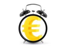 De tijd is geld. Wekker met euro symbool. Stock Afbeelding