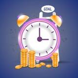 De tijd is geldconcept met klok en muntstukken Stock Afbeelding