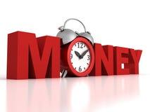 De tijd is geldconcept met rode wekker Stock Afbeeldingen