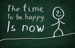 De tijd gelukkig te zijn is nu Stock Foto