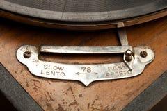 De tijd is relevant? Detail van een oude grammofoon stock fotografie