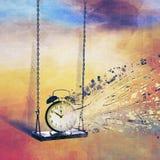 De tijd slingert nog en zich bevindt niet stock foto