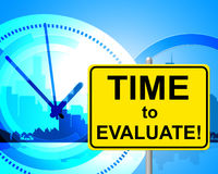De tijd te evalueren wijst op dit ogenblik op en Beoordeling stock illustratie