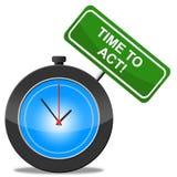 De tijd te handelen vertegenwoordigt Pro-actieve Activist en Actie vector illustratie