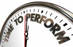 De tijd te presteren doet Job Clock Words vector illustratie