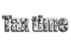 De tijd van de belasting De inschrijving heeft een textuur van de fotografie, die heel wat Amerikaanse dollarrekeningen afschilde stock illustratie