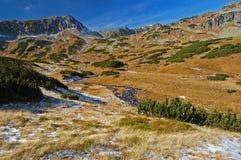 De tijd van de herfst in 5 merenvallei, Hoge Tatras Royalty-vrije Stock Foto's
