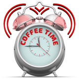 De tijd van de koffie De wekker met een inschrijving Royalty-vrije Stock Afbeelding