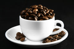 De tijd van de koffie, een kop bonen Stock Foto